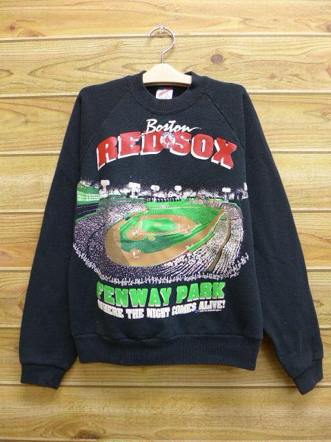 古着 中古 キッズ 子供服 スウェット 90年代 MLB ボストンレッドソックス USA製 黒 17apr06 グッズの画像