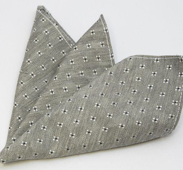 【ポケットチーフ】国産/シルクコットン/小紋■グレー系_画像1