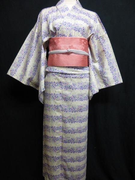 ☆オリジナル製レトロ木綿着物(ゆかた)+帯セット現品限り③_小花文様の横縞