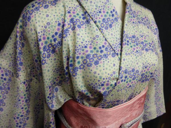 ☆オリジナル製レトロ木綿着物(ゆかた)+帯セット現品限り③_和装には珍しい柄行きです