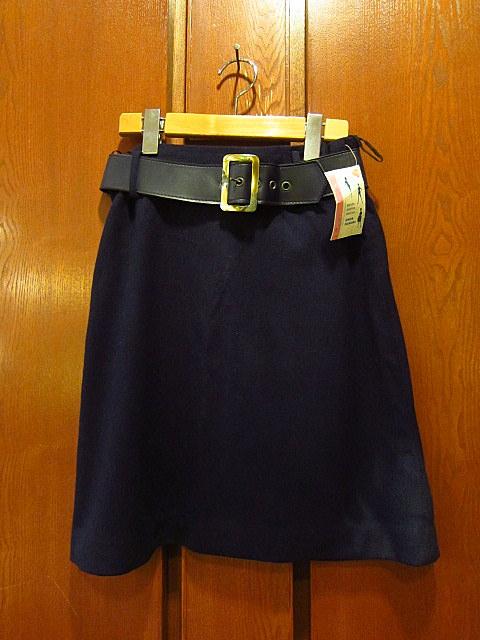 ビンテージ60's70's★DEADSTOCK Bobbie Brooksベルト付きウール台形スカート紺size7★50's80's古着屋卸レトロ_画像1