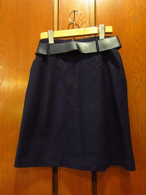 ビンテージ60's70's★DEADSTOCK Bobbie Brooksベルト付きウール台形スカート紺size7★50's80's古着屋卸レトロ_画像2