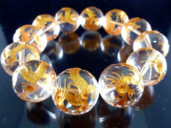 素敵な誕生日プレゼント★金彫龍水晶20mm爆玉数珠ブレスレット