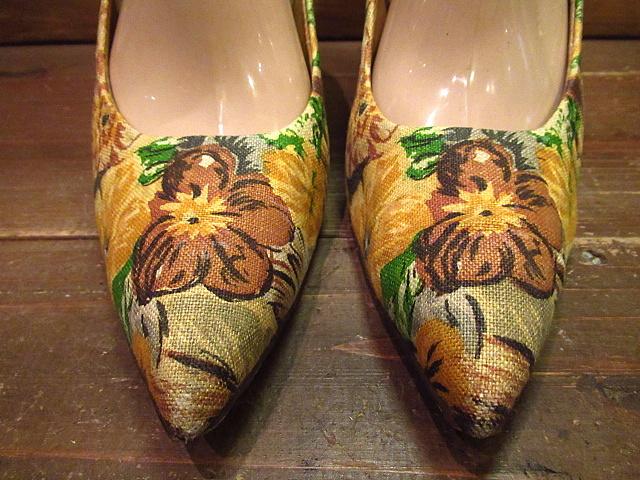 ビンテージ50's60's★Quali Craft花柄パンプス8AA★1950s1960sキャンバスハンドペイントレディース靴USA古着卸_画像2