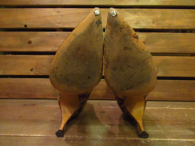 ビンテージ50's60's★Quali Craft花柄パンプス8AA★1950s1960sキャンバスハンドペイントレディース靴USA古着卸_画像6