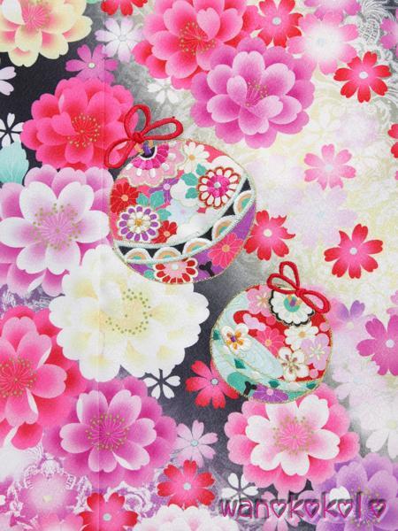 【和のこころキッズ】七五三◇七歳用振袖◇黒系・古典小花◇636_画像2
