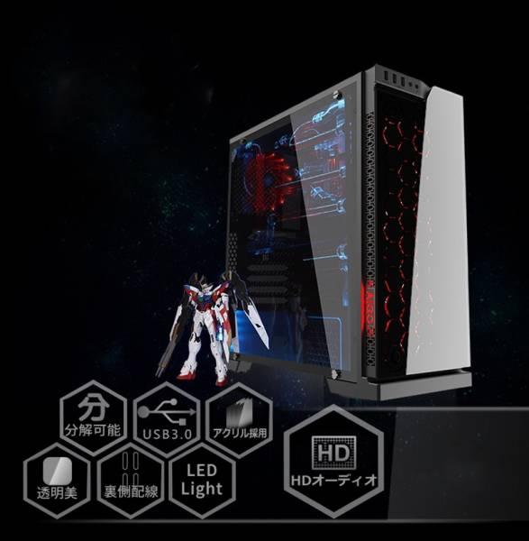 Aigo ミドルタワー ATX/MicroATX対応 強化フロントガラス×アクリルサイドパネル仕様 VR ゲーミング PC ケース ブラック ◆送料区分4◆