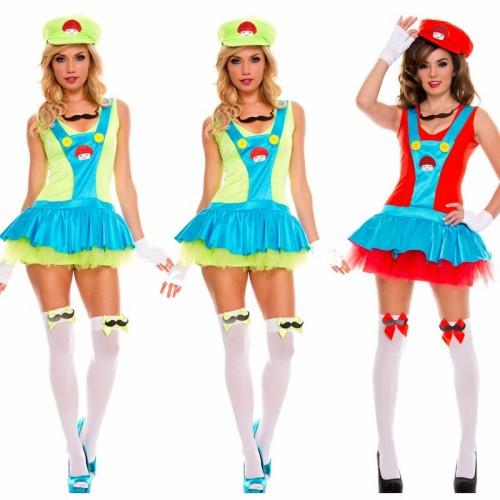 2色 スーパーマリオ Super Mario ルイージ コスプレ衣装 ハロウィン 服 レッド【 同梱可能 | 即納】 グッズの画像