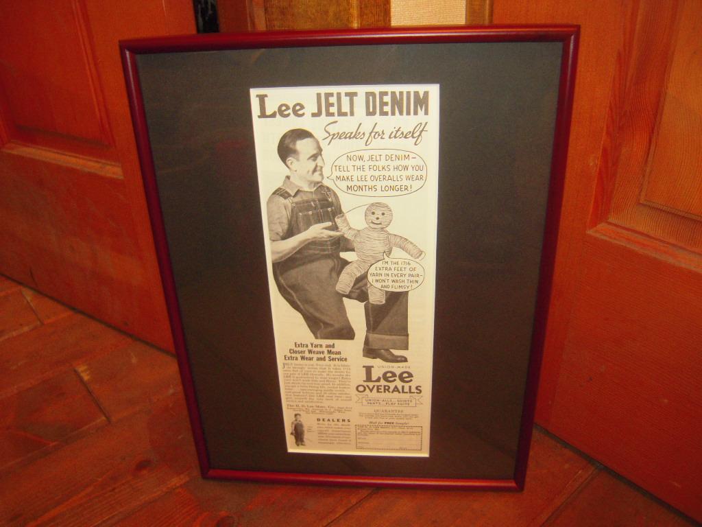 ★貴重★1935年★USA★LEE★OVERALLS★JELT DENIM★THE H.D.LEE MERCANTILE COMPANY 時代★広告額装品★リー★84年前★_画像1