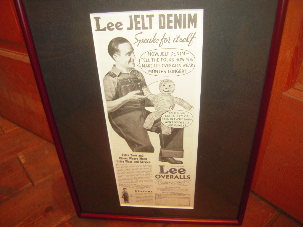 ★貴重★1935年★USA★LEE★OVERALLS★JELT DENIM★THE H.D.LEE MERCANTILE COMPANY 時代★広告額装品★リー★84年前★_画像2