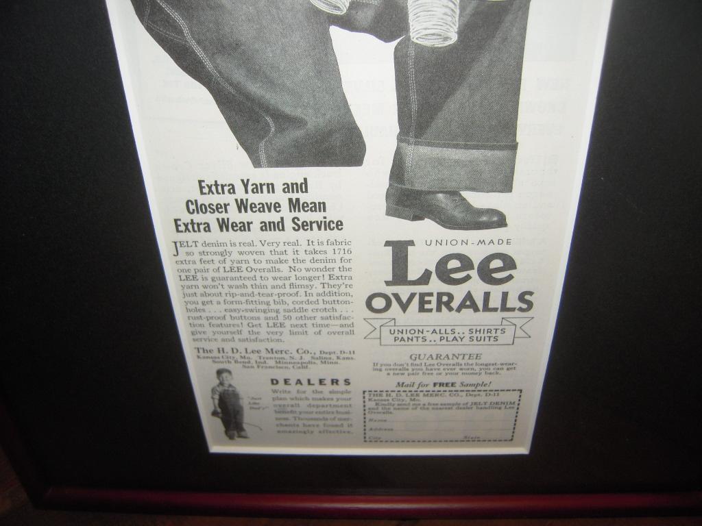 ★貴重★1935年★USA★LEE★OVERALLS★JELT DENIM★THE H.D.LEE MERCANTILE COMPANY 時代★広告額装品★リー★84年前★_画像4