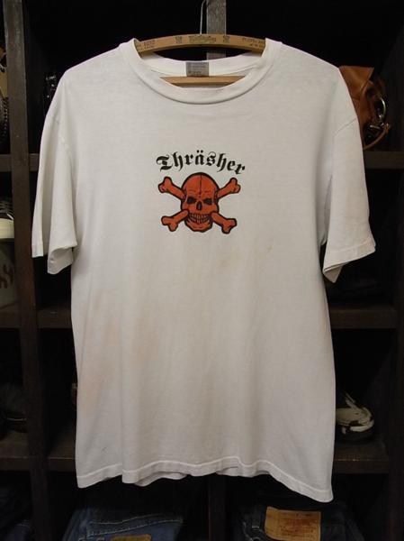 90'S MADE IN USA THRASHER スカル プリント 半袖 Tシャツ SIZE M スラッシャー スケート_画像1