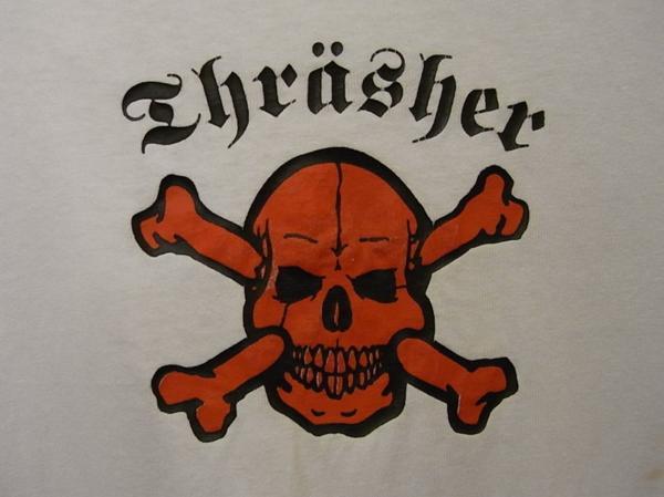 90'S MADE IN USA THRASHER スカル プリント 半袖 Tシャツ SIZE M スラッシャー スケート_画像5