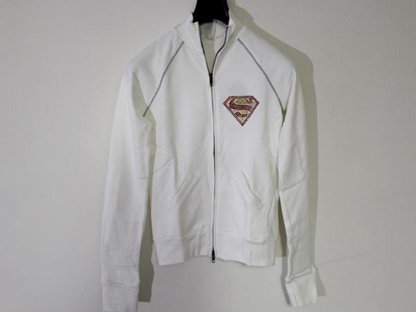 サディスティックアクション SADISTIC ACTION スーパーマン レディース トラックジャケット ホワイトxシルバー_画像1