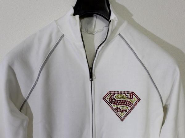 サディスティックアクション SADISTIC ACTION スーパーマン レディース トラックジャケット ホワイトxシルバー_画像2