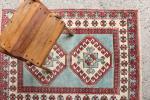涼しげ水色 手織り絨毯 トルコ・ミラス産 128×97㎝ アンティーク家具 ヴィンテージ マジックカーペット インテリアFTRM6619