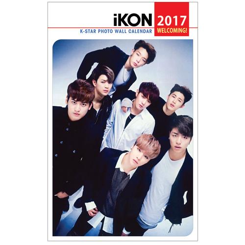 送料無料!iKON アイコン 2017年壁掛けカレンダー ライブグッズの画像