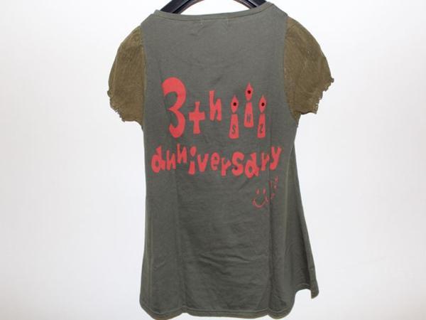 スワンジー SWANZY レディース半袖Tシャツ カーキ 袖レース 新品_袖部分 画像より濃い色