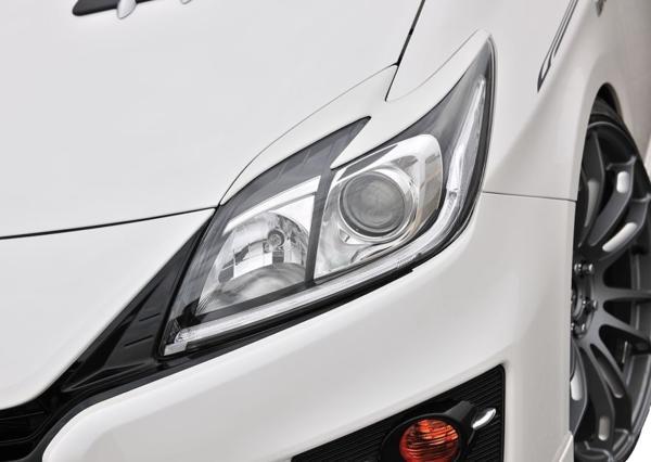 【M's】プリウス 30 後期 アイライン ABS製 ブラック(202)塗装済 トヨタ TOYOTA PRIUS ヘッドライト ガーニッシュ ZVW_画像3