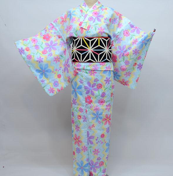 浴衣 仕立て上り キスミス 綿100% 適合身長155~168cm ゆかた単品 新品(株)安田屋_画像1