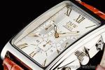 1円 シルバー&ゴールド 角型 ローマ数字インデックス 上級 クロノグラフ 本革ベルト 腕時計