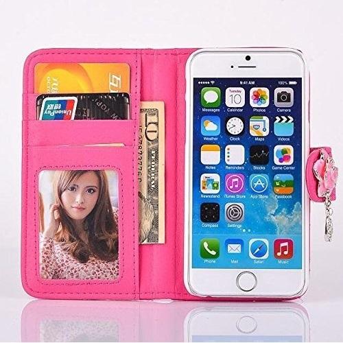 iPhone6 手帳ケース キルティング 花 カメリア ローズピンク ふっくら 財布型 アイフォンケース_画像2