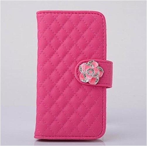 iPhone6 手帳ケース キルティング 花 カメリア ローズピンク ふっくら 財布型 アイフォンケース_画像1
