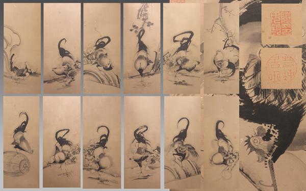 慶應◆【伊藤若冲】真筆 紙本墨画群鶏図屏風 六曲一双 人気の鶏図12景!