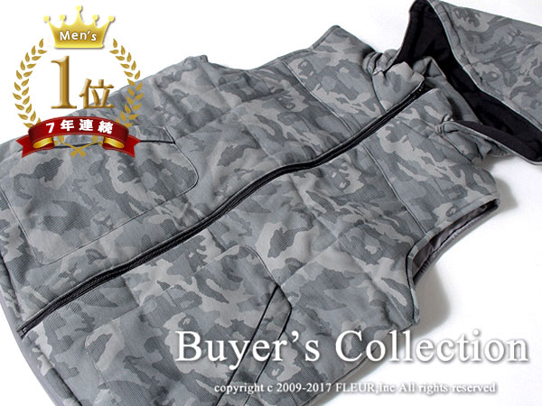 ◇新品◇Buyer's Select フード着脱可♪ 2WAY パイピング ポンチ中綿ベスト ジャケット【 M 】カモフラ柄 / バイヤーズセレクト C8550