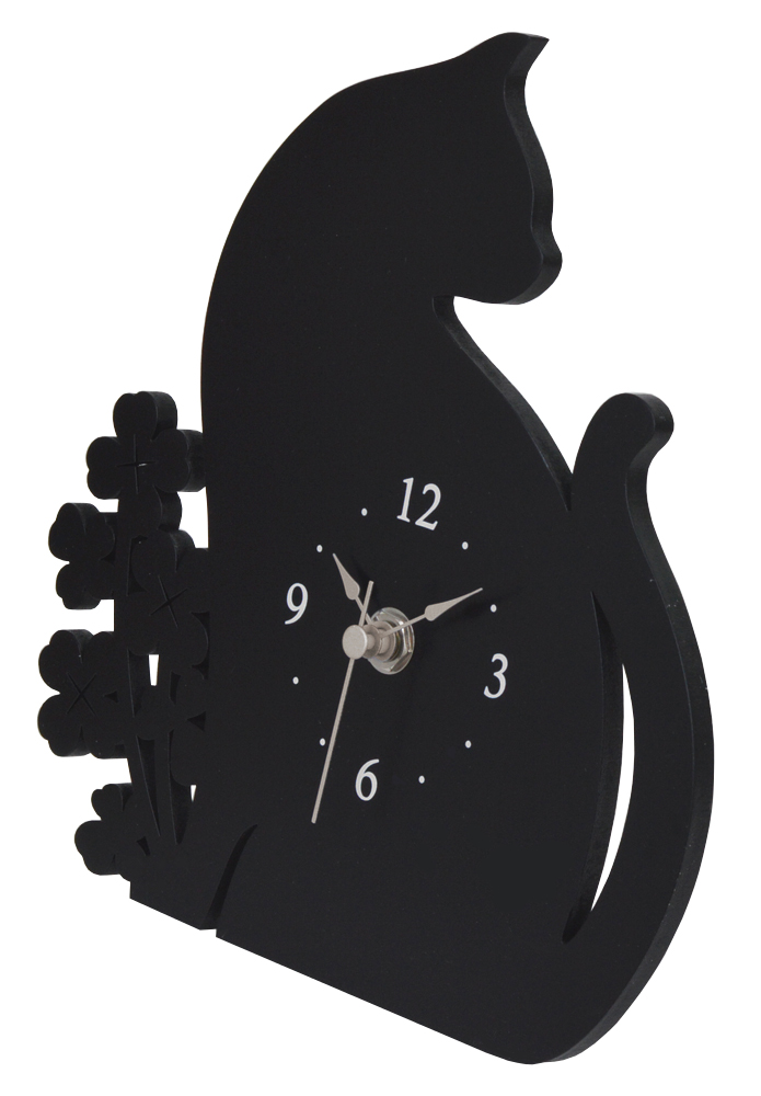 ★ 黒ネコとクローバーのシルエット置時計 ★_画像2