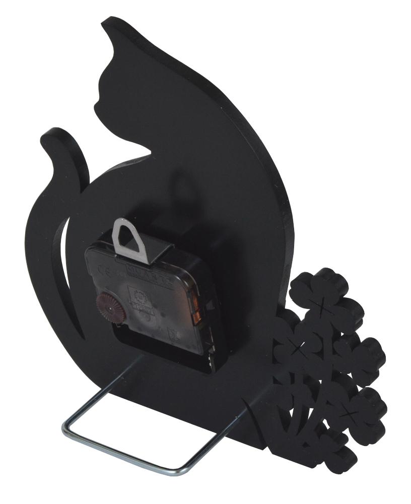 ★ 黒ネコとクローバーのシルエット置時計 ★_画像3