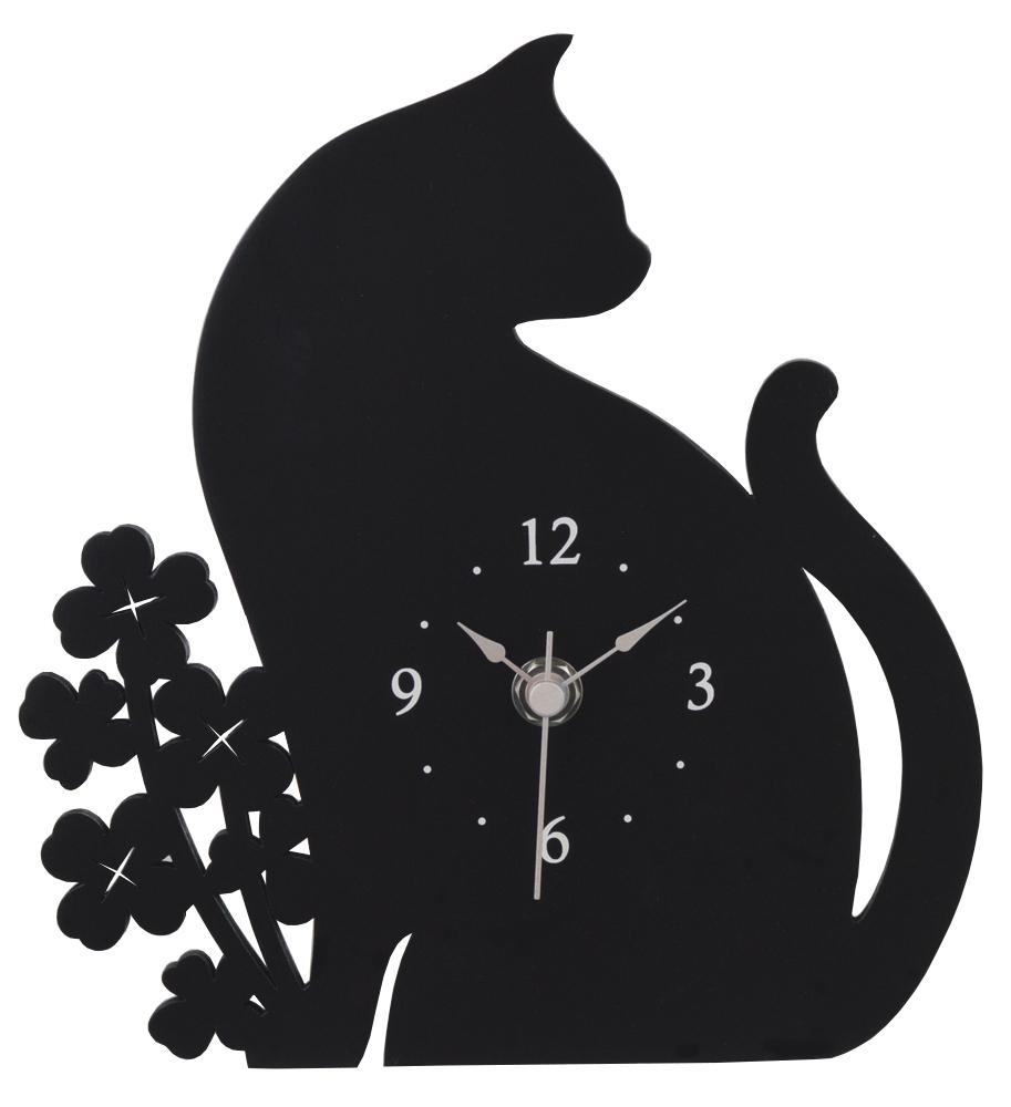 ★ 黒ネコとクローバーのシルエット置時計 ★_画像1