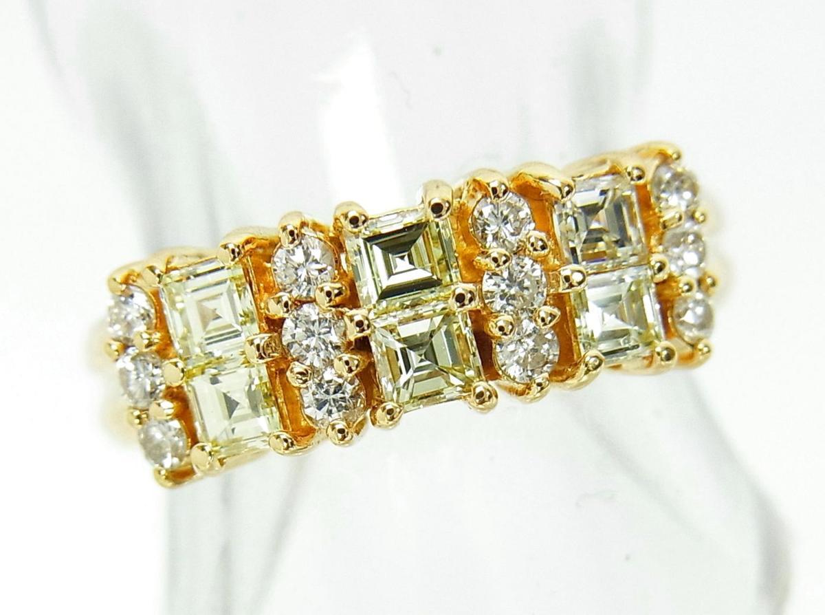 送料込みの即決価格!デイリーリングに 上質天然角型ダイヤモンド合計0.83ct18金製 エタニティリング 卸価格でご奉仕