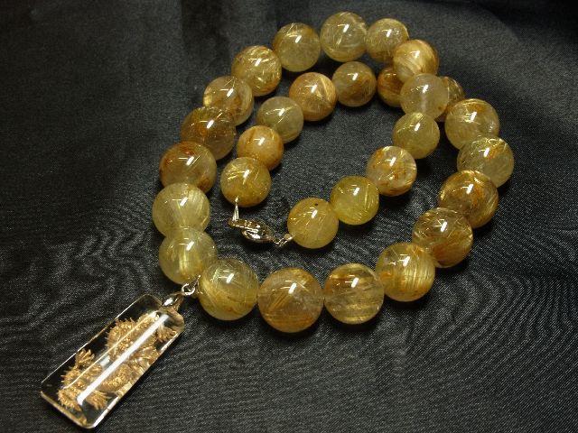 願望成就天然石 浮彫龍水晶プレート×極太金針タイチンルチル数珠ネックレス 最強開運_画像2