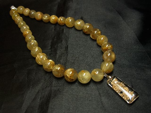 願望成就天然石 浮彫龍水晶プレート×極太金針タイチンルチル数珠ネックレス 最強開運_画像3