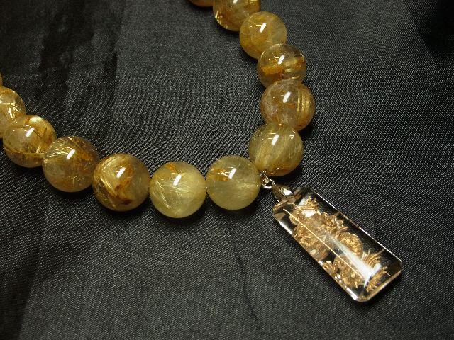 願望成就天然石 浮彫龍水晶プレート×極太金針タイチンルチル数珠ネックレス 最強開運_画像4
