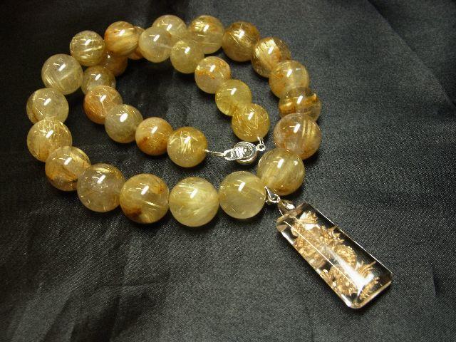 願望成就天然石 浮彫龍水晶プレート×極太金針タイチンルチル数珠ネックレス 最強開運_画像5
