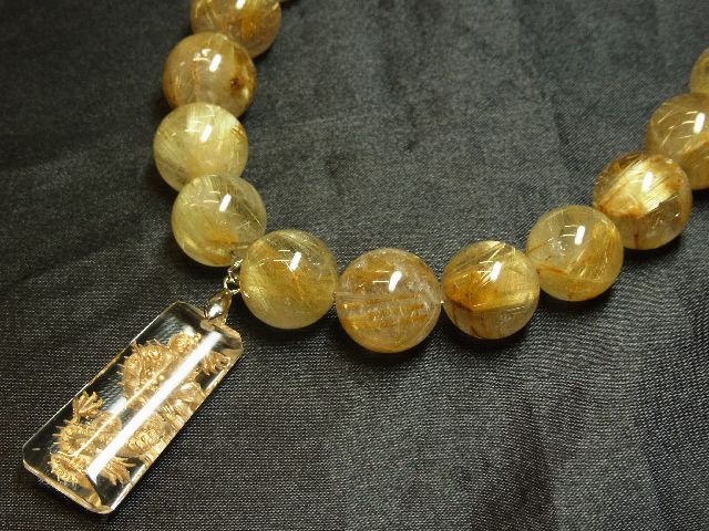 願望成就天然石 浮彫龍水晶プレート×極太金針タイチンルチル数珠ネックレス 最強開運_画像7