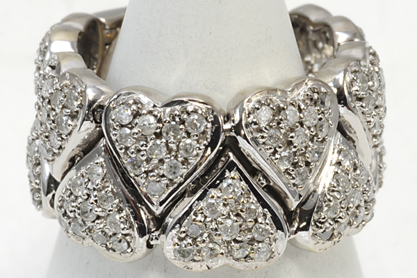 K18WG ハート リング 8g ダイヤ 1.0 #11 中古 送料無料【Y59】 18金ホワイトゴールド 指輪 中古_画像1