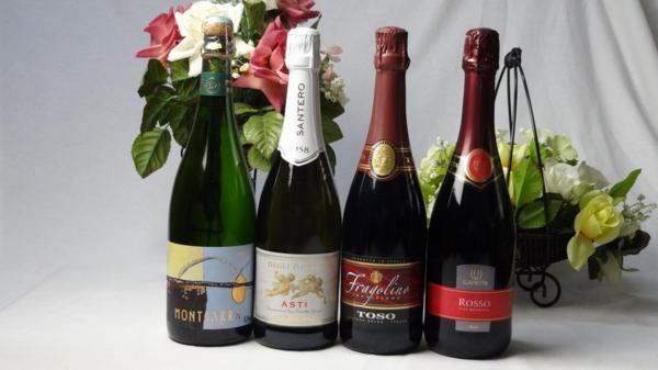世界の甘口赤×白スパークリングワイン4本セット(天_画像1