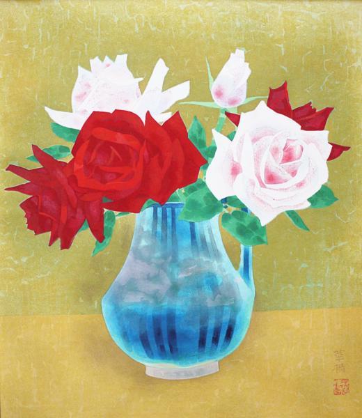 ■山口華楊 木版画 「薔薇」 額装 ●日本画 文化勲章受賞_画像2