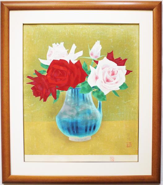 ■山口華楊 木版画 「薔薇」 額装 ●日本画 文化勲章受賞