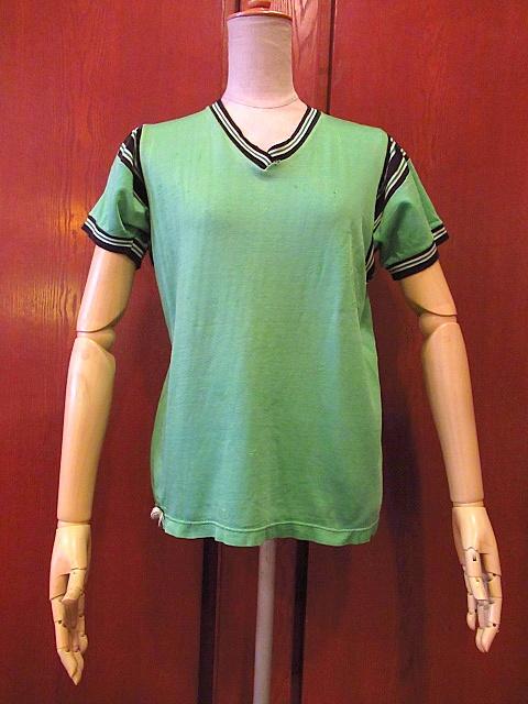 ビンテージ60's70's★レーヨンアスレチックTシャツ緑sizeM★50's80's古着黄緑Vネック半袖シャツメンズスポーツ卸_画像1