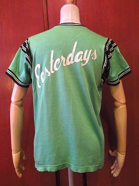 ビンテージ60's70's★レーヨンアスレチックTシャツ緑sizeM★50's80's古着黄緑Vネック半袖シャツメンズスポーツ卸_画像2