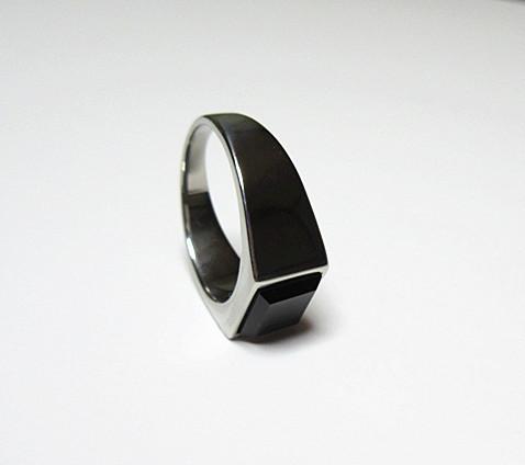 新品 四角形 ブラックストーン ビジネス ステンレス 指輪リング_画像10