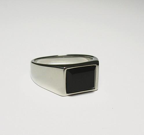 新品 四角形 ブラックストーン ビジネス ステンレス 指輪リング_画像6