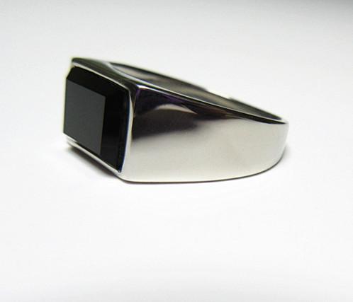 新品 四角形 ブラックストーン ビジネス ステンレス 指輪リング_画像5