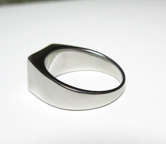 新品 四角形 ブラックストーン ビジネス ステンレス 指輪リング_画像8