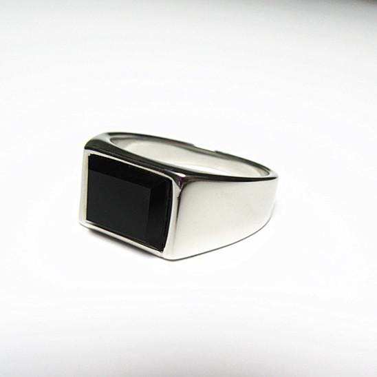 新品 四角形 ブラックストーン ビジネス ステンレス 指輪リング_画像7