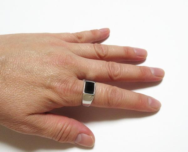 新品 四角形 ブラックストーン ビジネス ステンレス 指輪リング_画像3